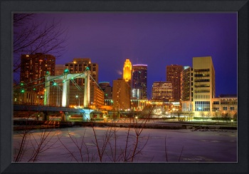 Minneapolis Skyline Over Hennepin Avenue Bridge