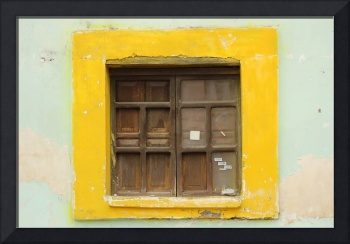 Brown Window in Yellow Frame
