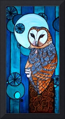 barn owl blue panel