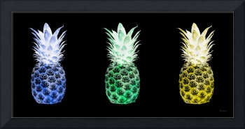 Triptych 14W Artistic Pineapple Blue Green Yellow