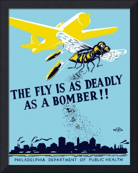 WPA propaganda poster of a bomber plane and a fly