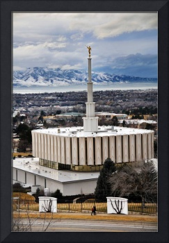 Provo Temple cool feb eve people walk by