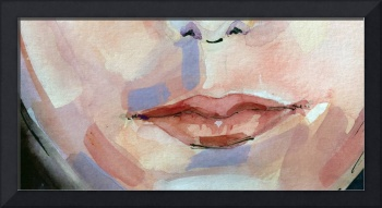 Lips of a young women Watercolor
