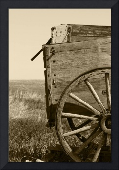 Antique Wooden Wagon in a Field