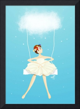Ballerina swinging in the sky