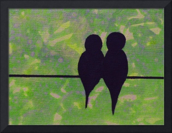 Birds on a Wire in Bright Green