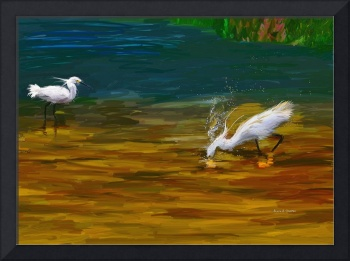 Computer Generated Image Of Bird Wading And Drinki