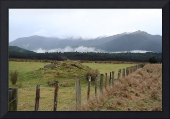 Mountain and fence, New Zealand