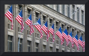Flags in a building of New York city