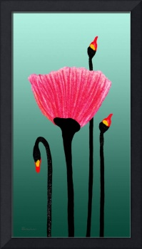 Expressive Red Pink Green Poppy Painting 3309t