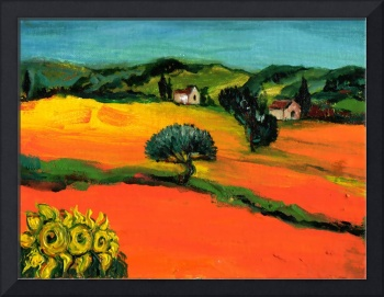 TUSCANY LANDSCAPE  WITH SUNFLOWERS