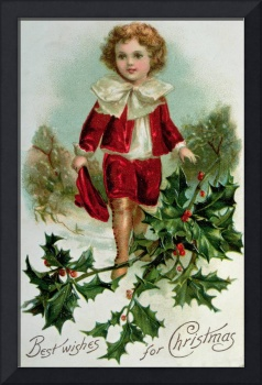 Victorian Christmas postcard depicting a boy in re