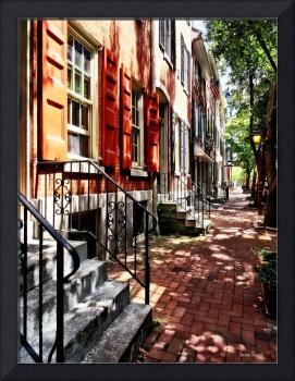 Philadelphia PA Street With Orange Shutters