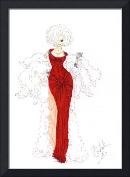 Fashion Art Red Dress Illustration