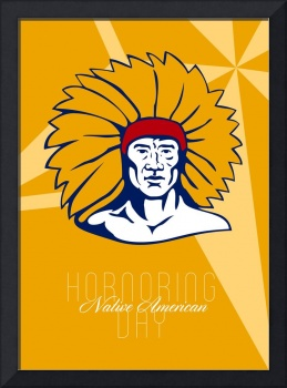 Honoring Native American Day Retro Poster Card