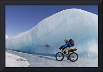 Man Fat Tire Mountain Biking On Ice At The Knik Gl