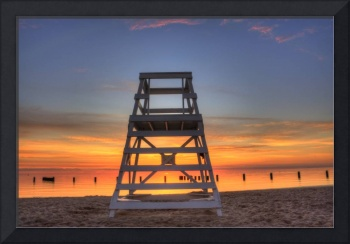Lifeguard Chair Just Before Sunrise