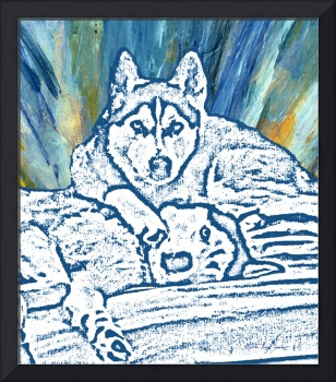 Expressive Huskies Mixed Media F51816
