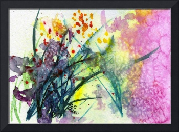 Red Bouquet Abstract Floral Watercolor by Ginette