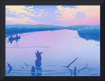 canoeing river sunset Abstract retro pop art