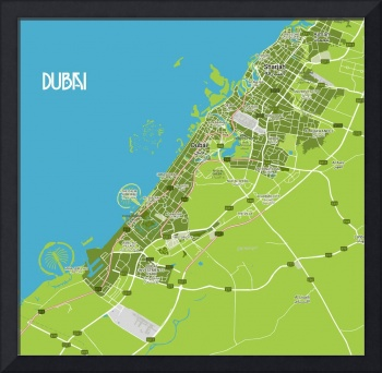 Minimalist Modern Map of Dubai, UAE 7a