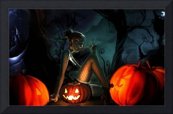 Halloween Witch Surrounded By Jack-O-Lanterns