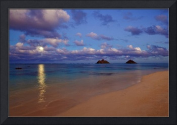 December moon rises in Lanikai, Hawaii