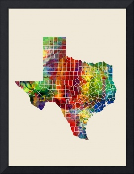 Texas Watercolor Map