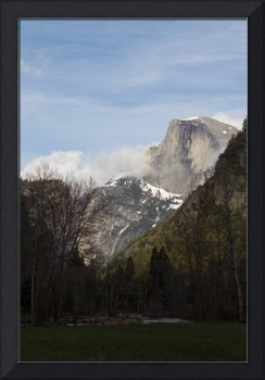 Half Dome with Clouds and Snow
