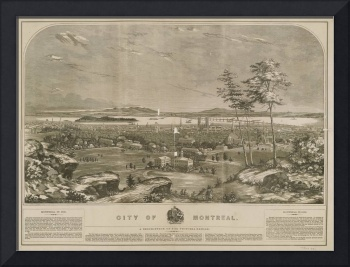 Vintage Pictorial Map of Montreal Canada (1856)