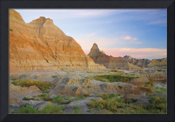 Red Sunrise On The Hills Of Badlands National Park