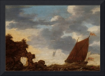ANONYMOUS Sailing Boats in a River Estuary XVII ce