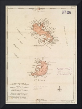 Vintage Map of St Lucia & Martinique (1781)