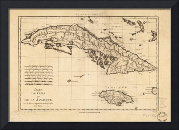 Islands of Cuba and Jamaica Map (1788)