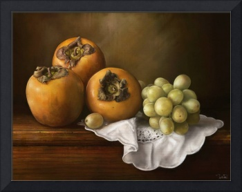 Classic Still Life with Persimmons and Grape