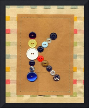 Letter K with Vintage Buttons and Brown Paper Bag