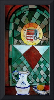 Still Life / Stained Glass with Pitcher & Bowl