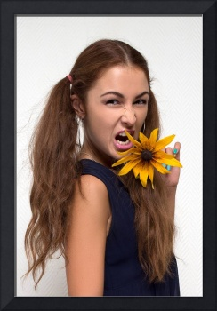 woman screaming with yellow flower