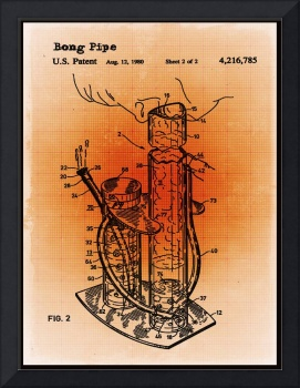 Bong Patent Blueprint Drawings Sepia