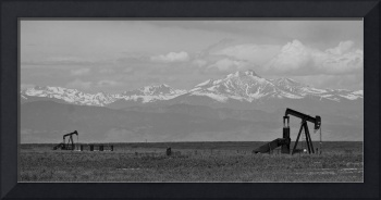 Rocky Mountain Front Range Oil Panorama BW