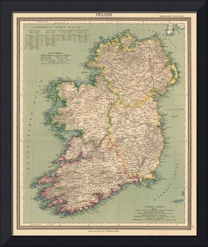 Vintage Map of Ireland (1888)
