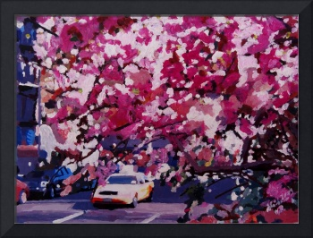 Cab And Flower Trees In New York City