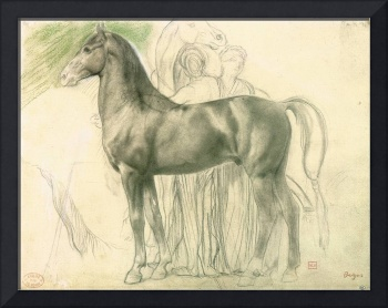 Edgar Degas Study of a horse with figures