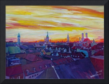 Munich Skyline with Burning Sky at Sunset