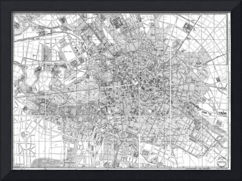 Vintage Map of Berlin Germany (1877) BW