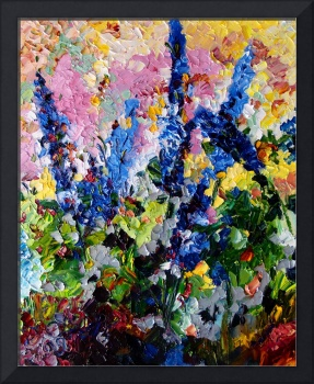 Blue Delphiniums Impressionist Floral Oil Painting