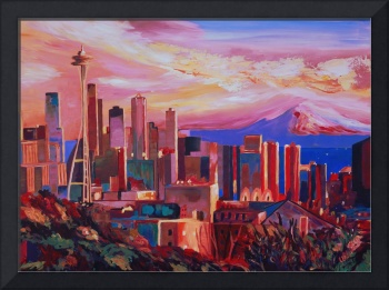 Seattle Skyline with Space Needle and Mt Rainier