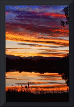 Wildfire Sunset Reflection Vertical Print
