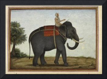 An Elephant Keeper Riding His Elephant (1825)