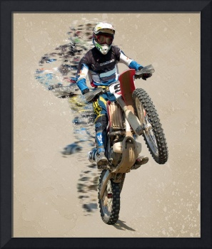 Motocross Rider with Flying Pieces Beige Mottled